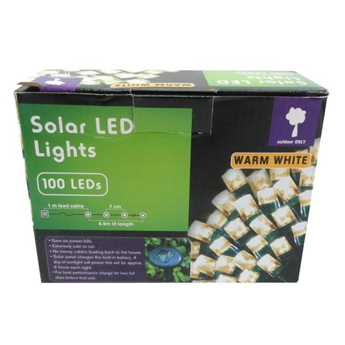 100 Solar LED Lights - Warm White - Christmas World