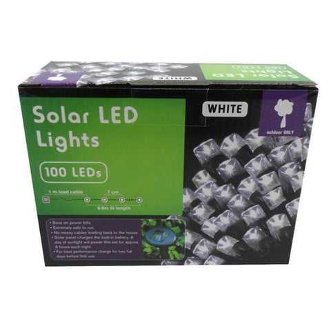 100 Solar LED Lights - White