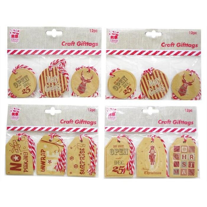 Kraft Printed Gift Tags - 12 Pack - Christmas World
