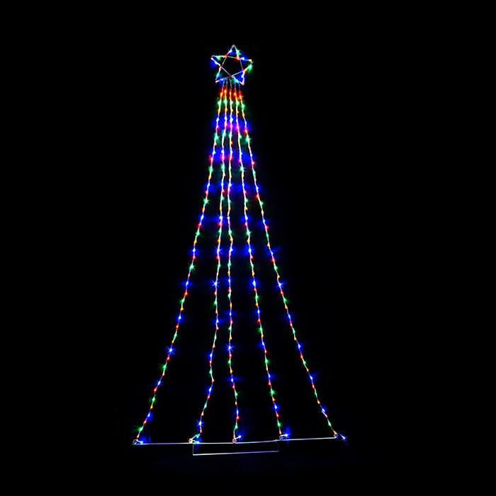 Multicoloured LED Waterfall Star- 2.4m - Christmas World