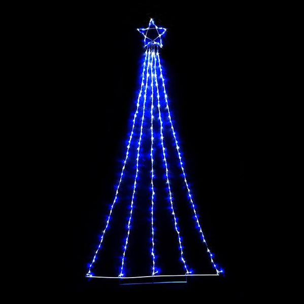 2.4M LED Waterfall Star - White & Blue - Christmas World