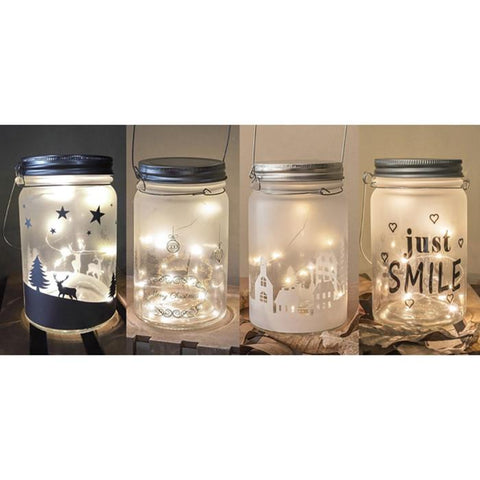 LED Frosted Scene Glass Jar