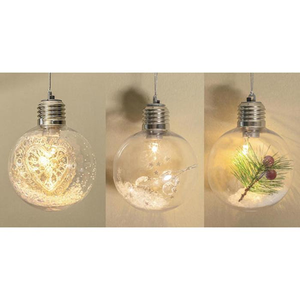 LED Hang Bauble 8cm Glass - Christmas World
