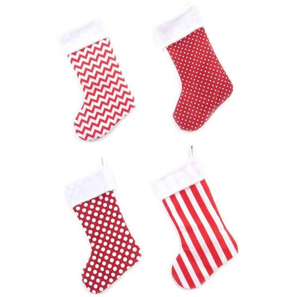 Stocking Red/White Burlap 54cm - Christmas World
