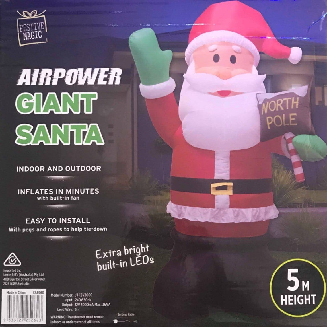 A/POWER GIANT SANTA 5m NTHPOLE