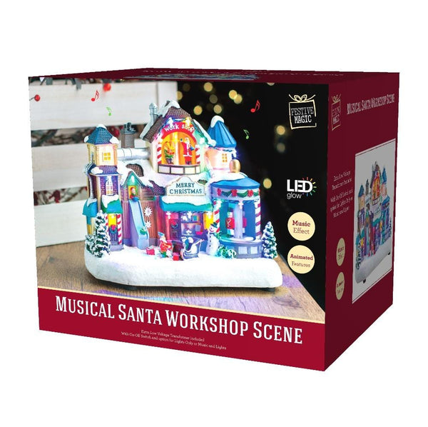 Musical Santa Workshop Scene with Music and LED Lights