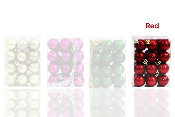 30mm Lux Bauble Set of 24 - Christmas World