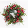 RED BERRIES PINE CONES WREATH