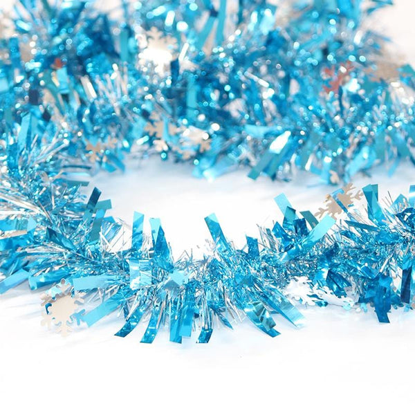 Thick Blue Tinsel with Snowflakes - 2.7m