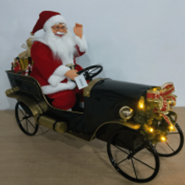 Santa in Vintage Musical Light-up Car