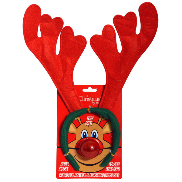 Reindeer Antler and Flashing Nose Set - Christmas World