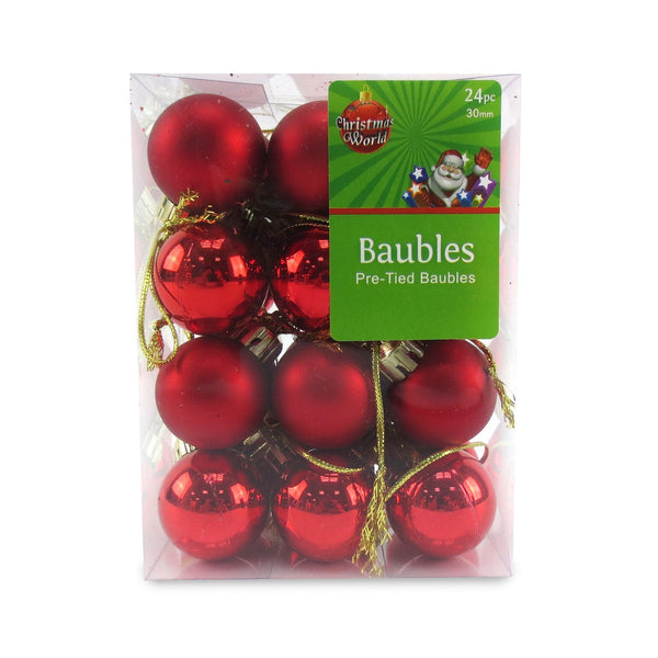 BOX OF 24 30MM LAQUER BAUBLES RED - Christmas World