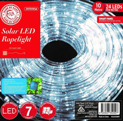 Solar LED Rope Light - White -10M