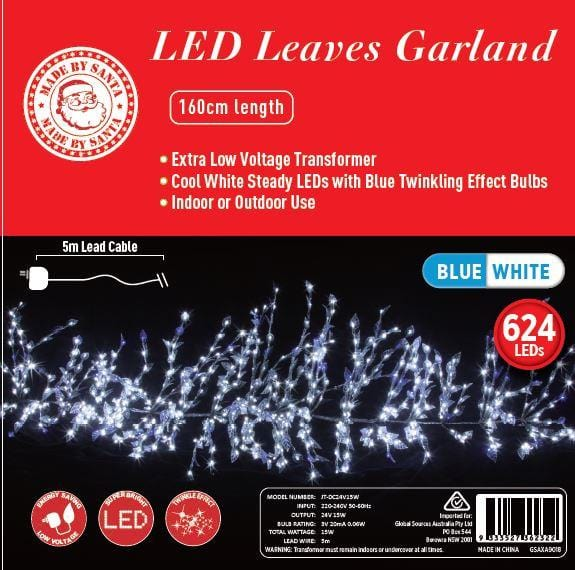 LED LEAVES GARLAND TWINKLE - 160cm - Christmas World