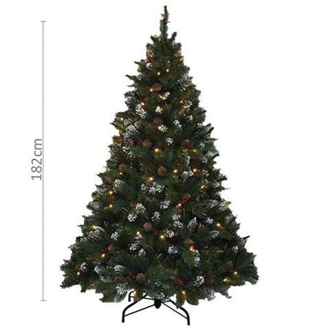 182cm Canadian Christmas Tree with 200 LED Lights and 1223 Tips