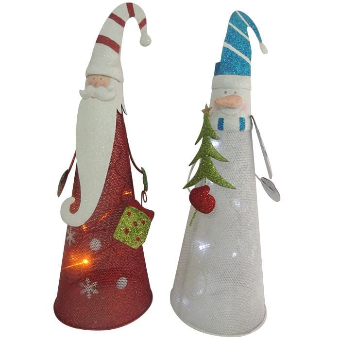 Christmas Metal Santa/Snowman Decoration with LED - Christmas World