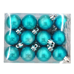 Box of 24 - 30mm Aqua Blue Baubles - Christmas World