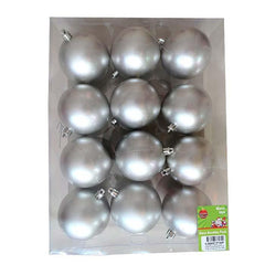 Box of 12 - 8cm Silver Lacquer Baubles - Christmas World