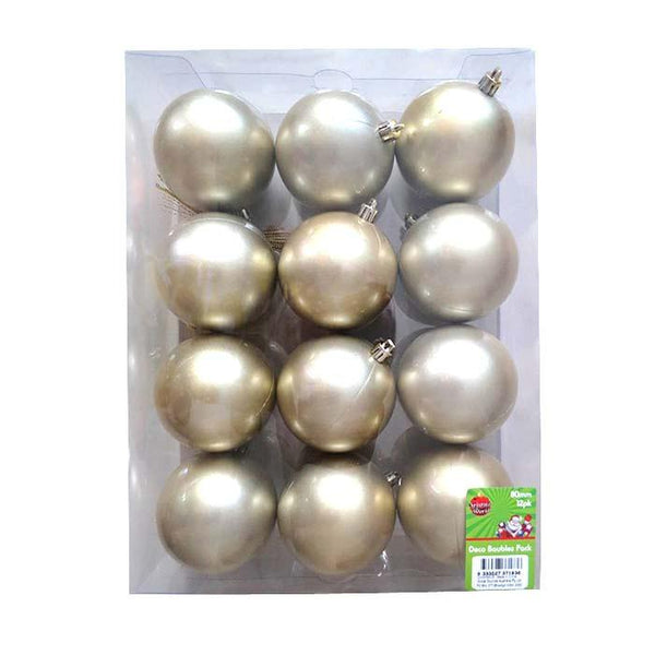 Box of 12 80mm Baubles - Gold - Christmas World