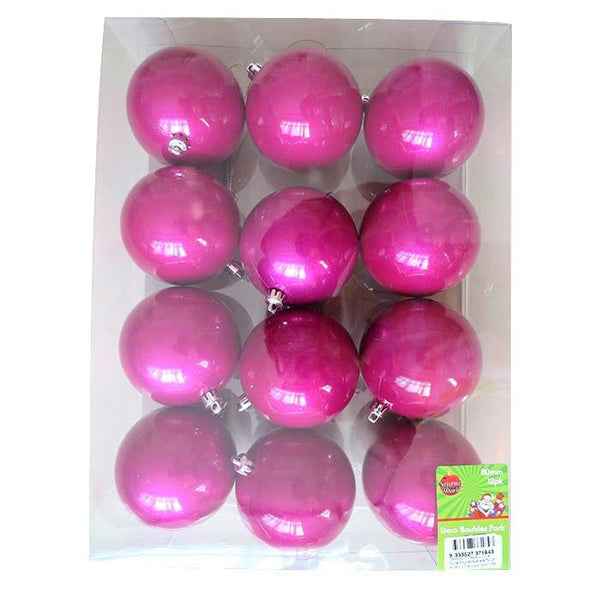 Box of 12 80MM Lacquer Baubles - Christmas World