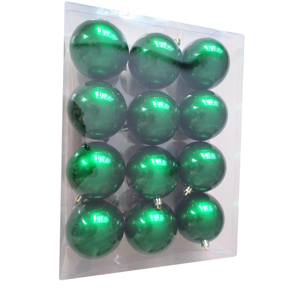 Box of 12 80MM Lacquer Baubles - Green - Christmas World