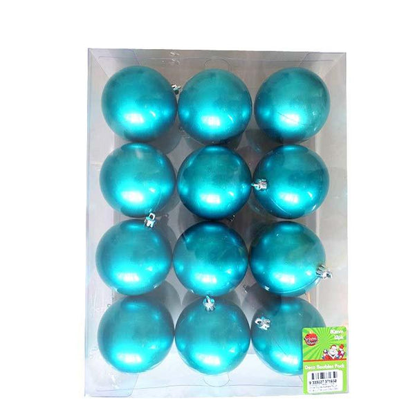 Box of 12 80MM Lacquer Baubles - Aqua Blue - Christmas World