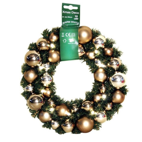 LED Bauble Wreath - Gold/Silver