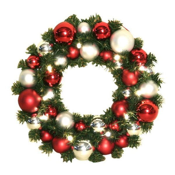 Led bauble wreath red silver christmas world for Red and silver christmas decorations