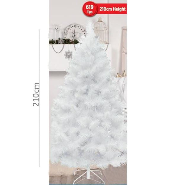 Pine Christmas Tree 2.1m White Iridescent Glitter 619 Tips - Christmas World