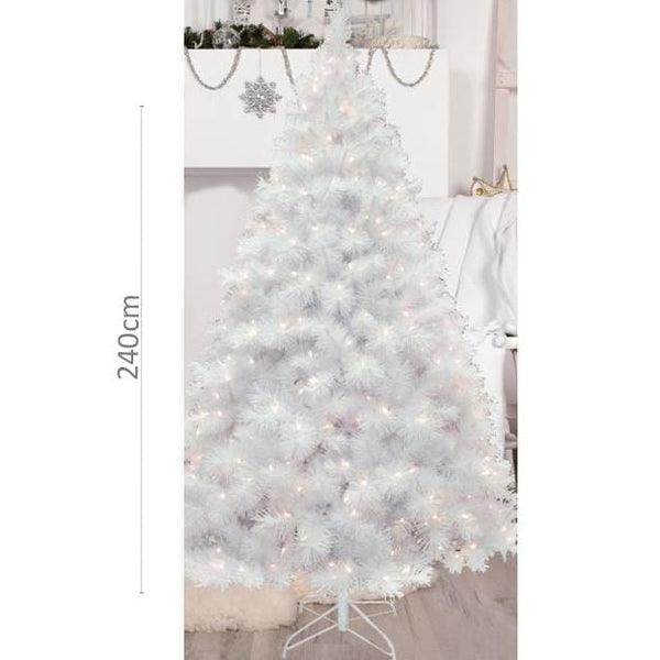 Pine Christmas Tree 2.4m White Iridescent Glitter with LED Lights - Christmas World