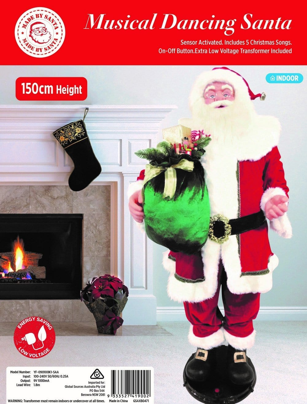 Dancing Musical Santa 150cm - Christmas World
