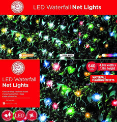 LED Net Lights 640 LEDs Waterfall Effect - Warm White