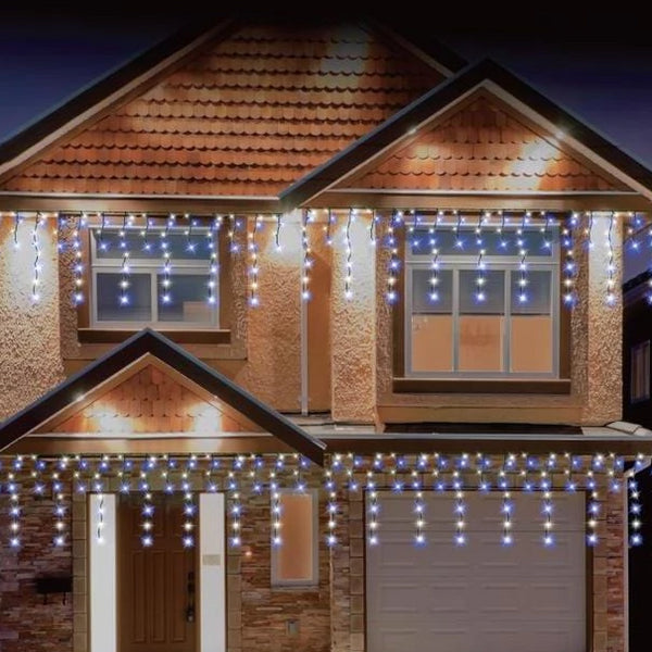 408 LED Snowing Icicles White or White and Blue - Christmas World