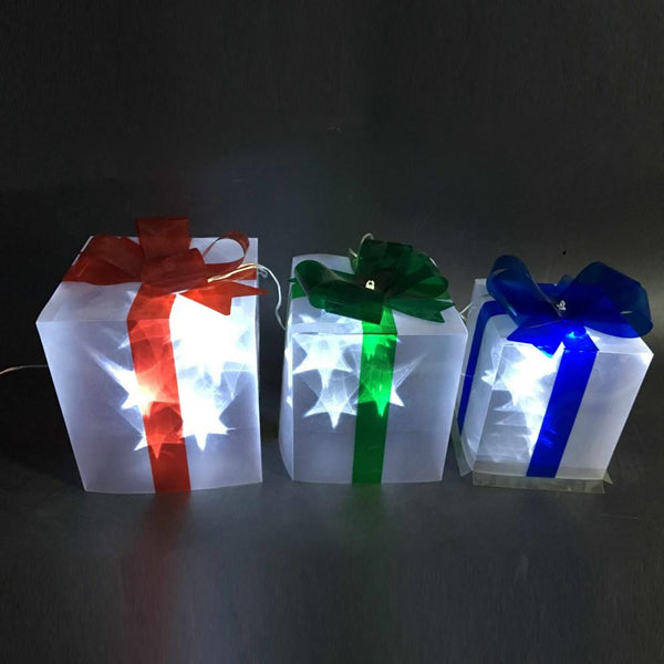 LED PVC Laser Stars Presents - 3 Pack - Christmas World