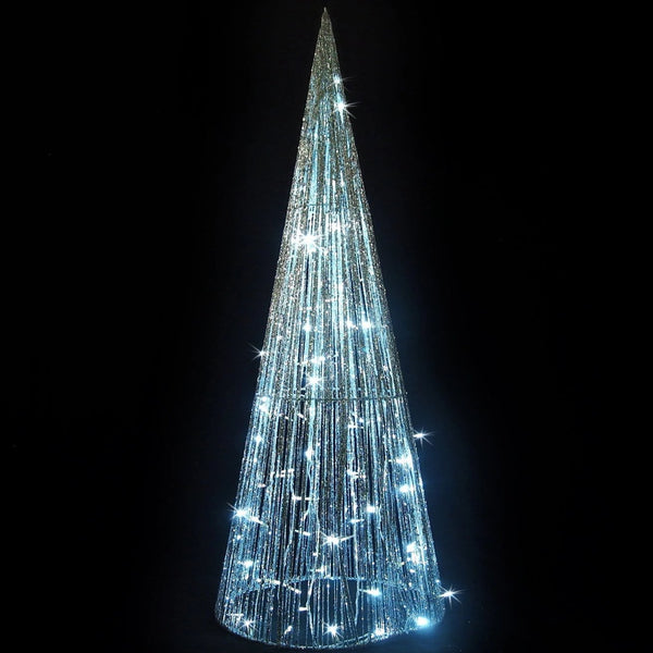 LED Glitt String Cone Tree 1.2m Silver/White - Christmas World