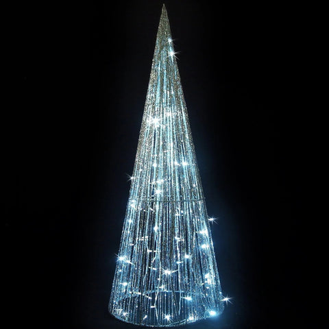 LED Glitt String Cone Tree 1.2m Silver/White