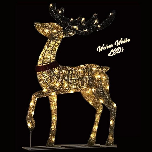 LED GLITTER STANDING REINDEER CHAMPAGNE GOLD