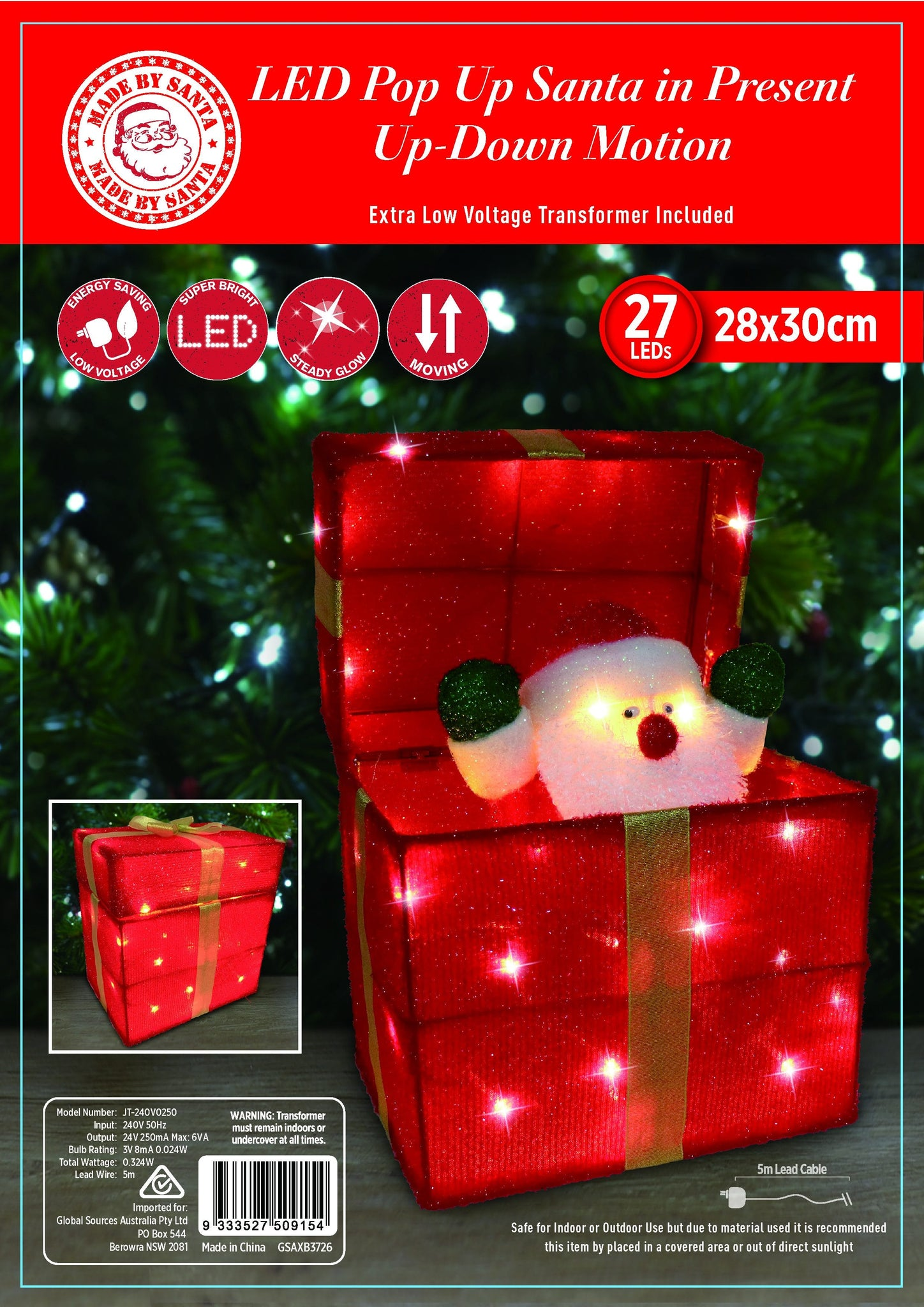 NEW ARRIVAL: LED TINSEL POP-UP SANTA PRESENT