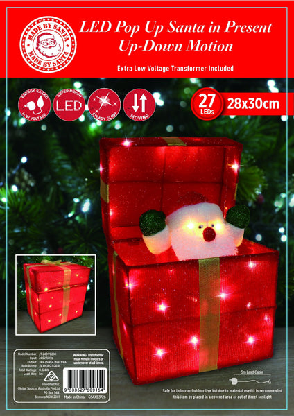 BACK IN STOCK: NEW ARRIVAL: LED TINSEL POP-UP SANTA PRESENT - Christmas World