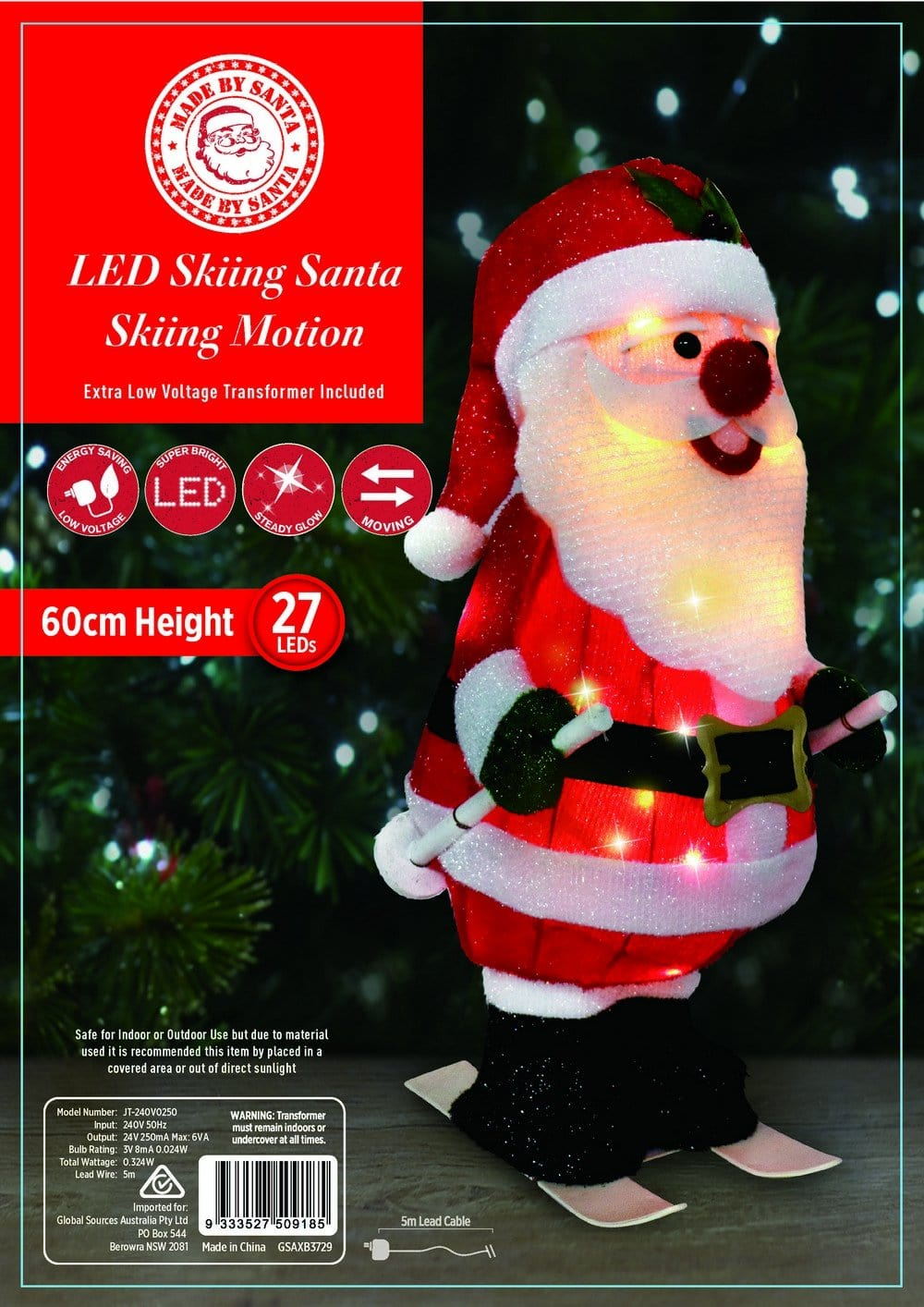 NEW ARRIVAL: LED TINSEL SKIING SANTA