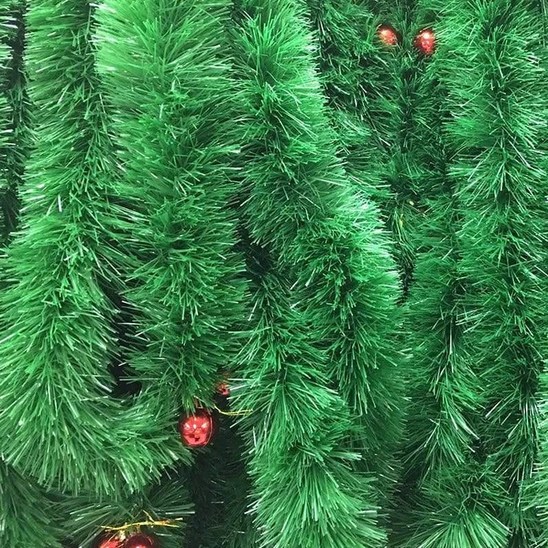 GREEN TINSEL 3m 9cm WITH BAUBLES - Christmas World