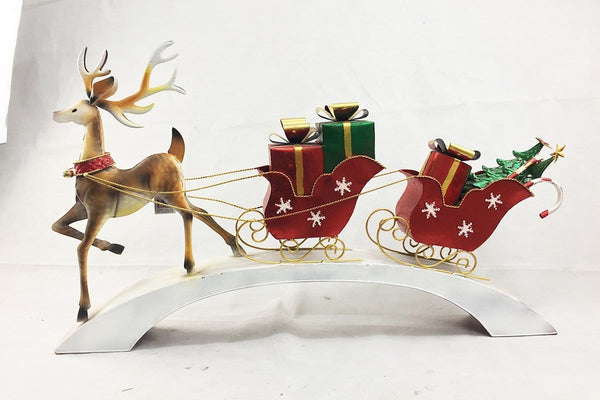 REINDEER WITH PRESENTS SLEIGH ON STAND