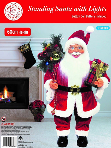 STANDING SANTA 60cm WITH LED LIGHTS