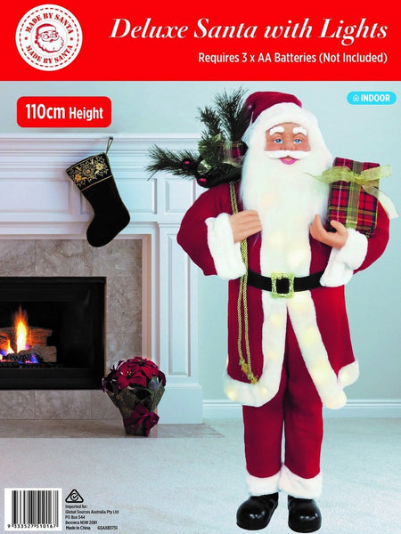 DELUXE SANTA 110cm STAND WITH LED LIGHTS - Christmas World