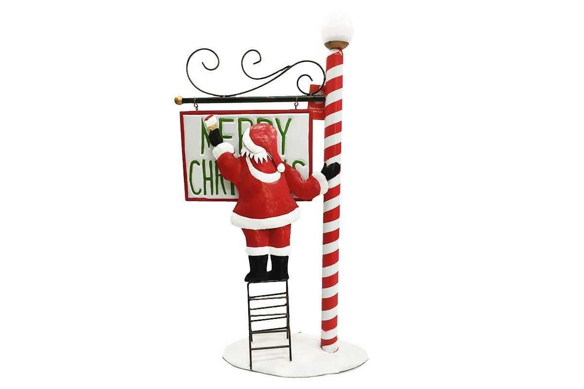 METAL PAINTER SANTA LGE WITH SOLAR LIGHT 92cm UV