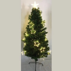 FIBREOPTIC TREE MIXED 180cm WARM WHITE WITH STARS DECO - Christmas World