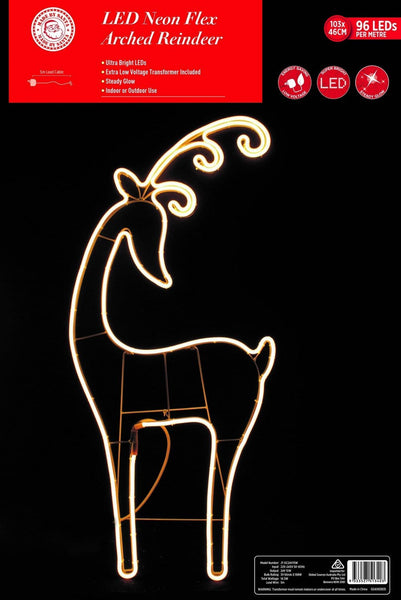 NEON LED FLEX STRIP REINDEER HEAD BACK: 103cm