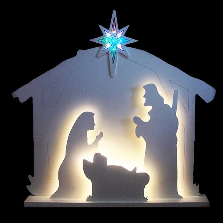 NEW ARRIVAL: LED MDF NATIVITY SCENE WITH STAR 123x112cm