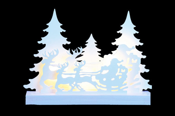 LED MDF SANTA REINDEERS SLEIGH WITH TREES