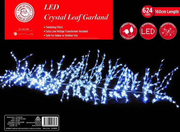 LED CRYSTAL LEAVES GARLAND TWINKLE